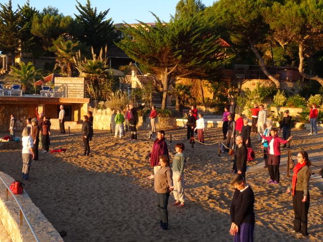 Pratique matinale avec Isabelle Morin-Larbey à San Feliu, Espagne 2015